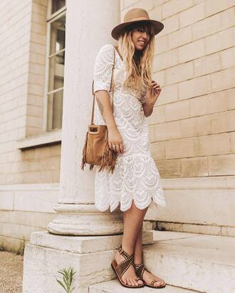 dress french girl hat midi dress white lace dress lace dress bag sunglasses suede suede bag sandals flat sandals