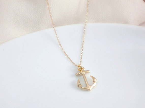 Gold anchor pendant necklace  14k gold filled chain par aramarie