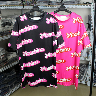 shirt barbie shirt barbie top moschino pink and white moshino moshino moschino shirt t-shirt t-shirt dress brand t-shirt oversized t-shirt pink ebay cute harajuku graphic tee black tee fashion