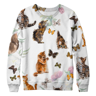 sweater cats butterfly cute illustration