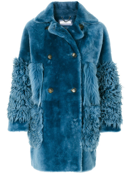 coat fur coat double breasted fur women blue