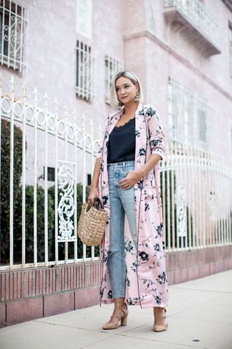 late afternoon blogger tank top jeans shoes bag basket bag pumps camisole long cardigan fall outfits