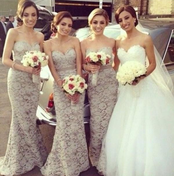 dress nude lace bridesmaid dress