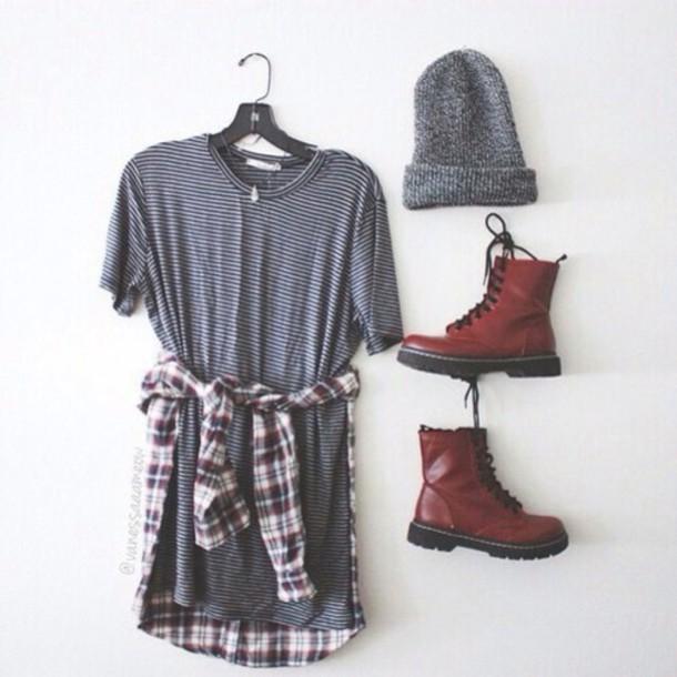 dress shoes boots beanie flannel shirt fashion