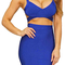 Crisscross cutout back two piece set blue