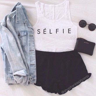 tank top selfie converse cute summer outfits jacket