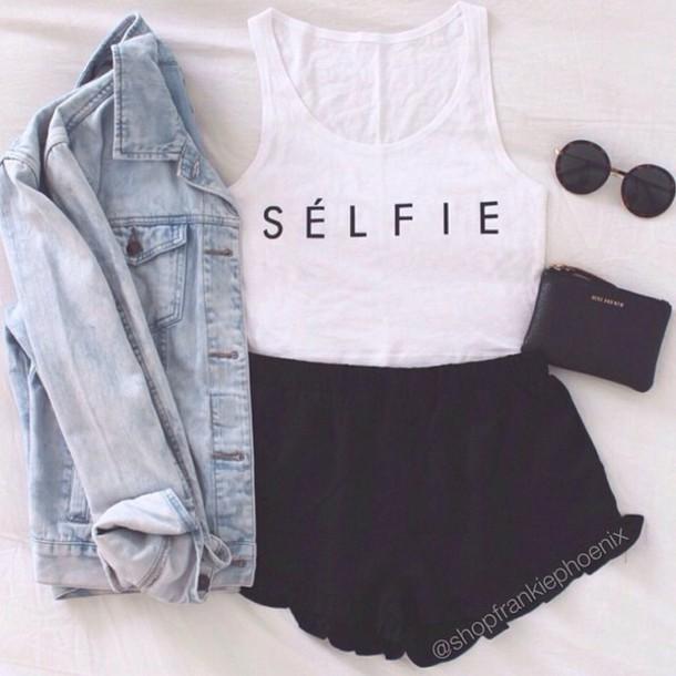 tank top selfie converse cute summer outfits jacket