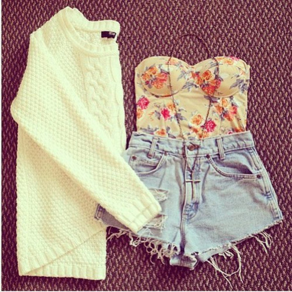 sweater shorts shirt amazing cute crop tops beautiful pretty white knit sweater bandeau necklace cross necklace jewels t-shirt h&m cream blouse awesome tumblr high waisted short denim floral tank top miley cyrus high heels boots shoes hippie pink summer fall winter sweater spring adorable blouse floral bustier bustier