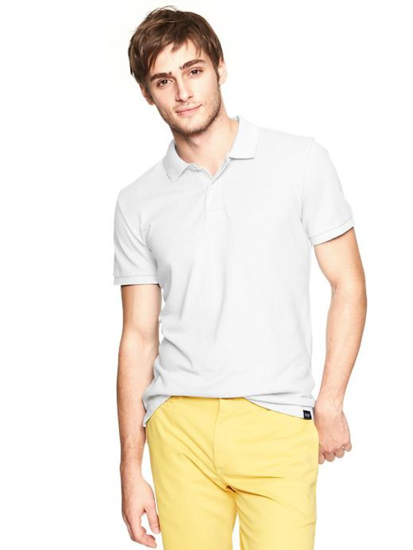 gap fitted classic polo optic white mens polo 364425001