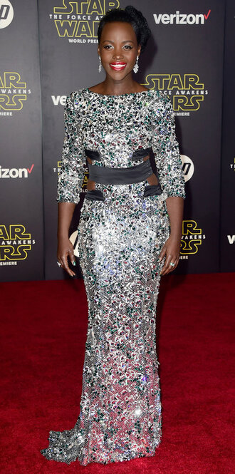 jacket gown prom dress mirror sparkly dress sparkle lupita nyong'o dress star wars