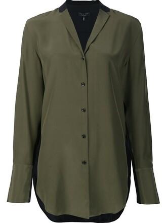 shirt women silk green top