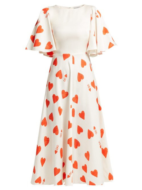 dress heart print silk satin red