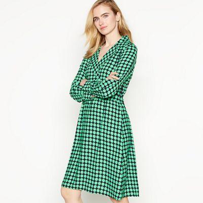 Vero Moda Green Dot Print 'Sarah' Knee Length Wrap Dress