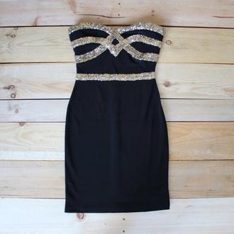 dress black shor gold sequins homecoming dress strapless