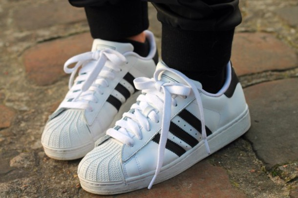adidas superstar white and black