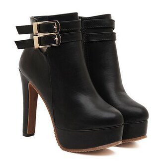 shoes heels black leather boots fall outfits winter outfits casual fashion style buckles footwear