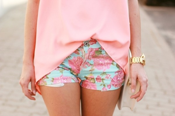 shorts flowers blue spring flowers green fashion