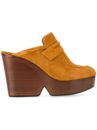 women mules leather suede brown shoes