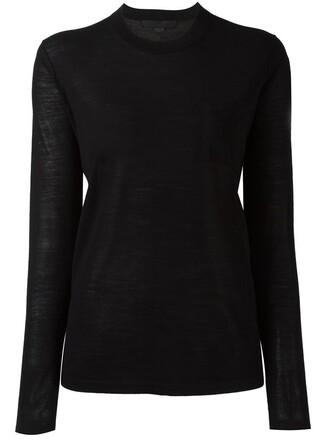 jumper women black silk sweater