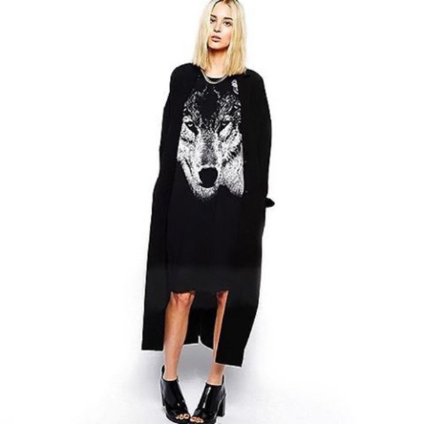 82634155852c dress fashion style hipster black dress hipster wishlist hipster punk  fashionista black wolf print printed dress