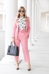 pants,pink pants,cropped pants,blazer,pink blazer,shirt,blouse,top,sunglasses,work outfits,shoes,bag,pantsuit,polka dots