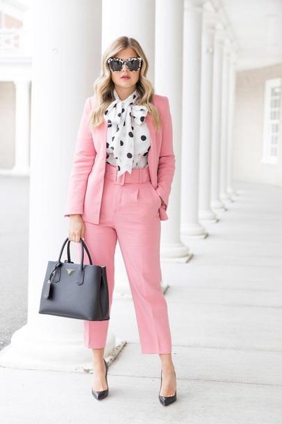 pants pink pants cropped pants blazer pink blazer shirt blouse top sunglasses work outfits shoes bag pantsuit polka dots