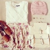 bag,white,pink,bag pack,shoes,skirt,top,hat,sweater,nail accessories,floral skirt,pretty,beanie,backpack,leather backpack