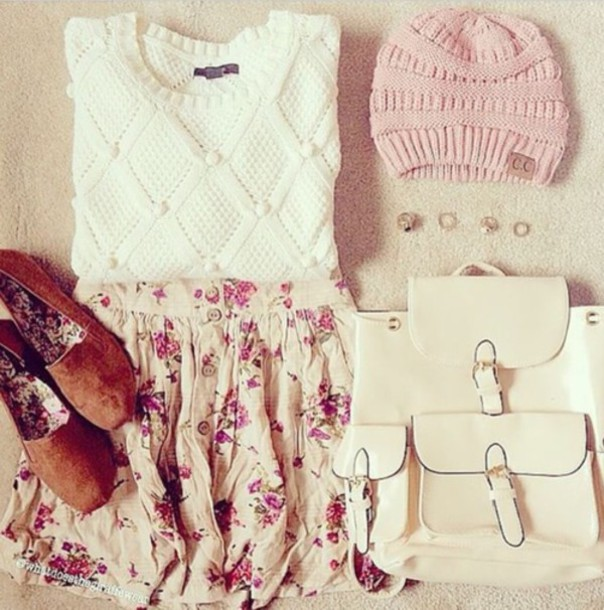 bag white pink bag pack shoes skirt top hat sweater nail accessories floral skirt pretty beanie backpack leather backpack