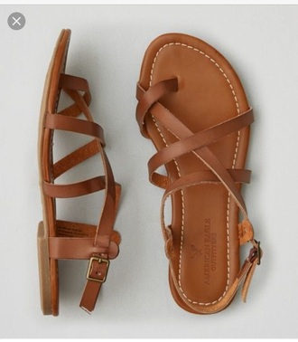shoes american eagle outfitters strappy sandals brown sandals with straps flat sandals cute sandals