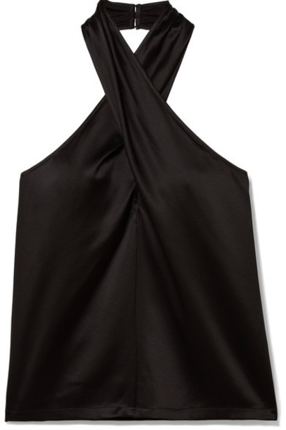 theory top black silk satin