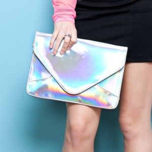 Holographic Envelope Clutch - Silver
