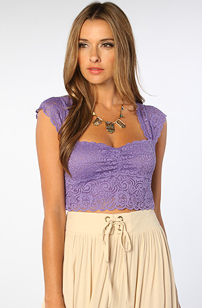 Free People The Stretch Lace Scallopped Edge Crop Top in Dahlia -  Karmaloop.com