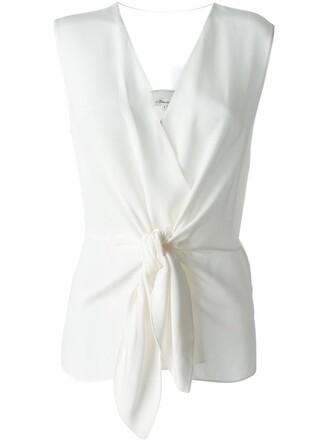 top women tie front white silk