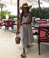 bag,dress,hat,straw hat,big straw hat,staud bag,shoes