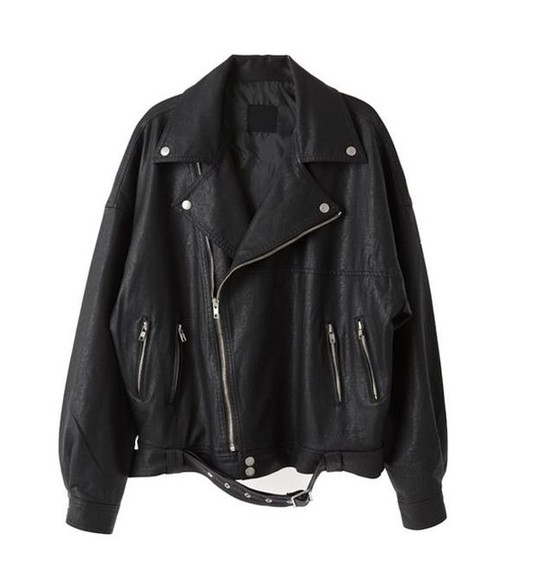 oversize black jacket loose boyfriend bad sexy leather jacket perfecto fake leather