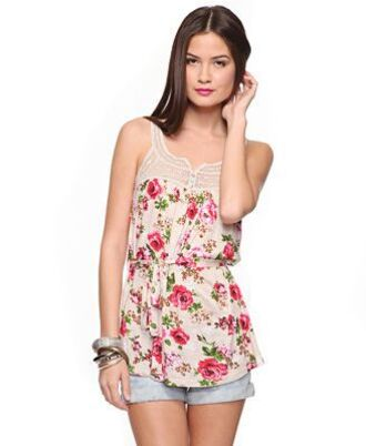 tank top white red rose roses white tank yop white tank top floral flowers pink flowers pink lace shorts short shorts long shirt tight waist sleeveless