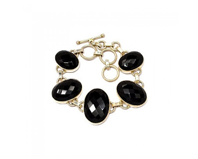 Beautiful 925 sterling silver Faceted Black Onyx Bracelet
