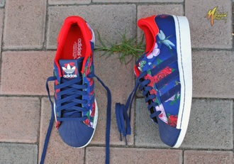 shoes sneakers adidas floral flowers blue summer cool fashion adidas superstars superstar