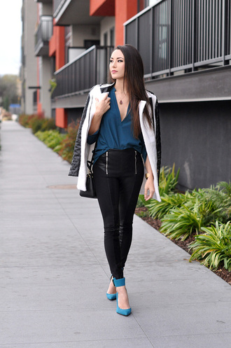 hapa time blogger leather pants v neck blue shoes