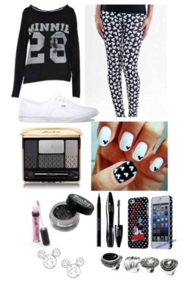 minnie mouse mickey mouse black white nail polish leggings
