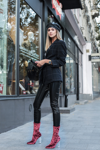 hat tumblr beret black beret pants black pants leather pants black leather pants boots red boots ankle boots jacket black jacket bag black bag vinyl black vinyl pants black check blazer velvet velvet boots