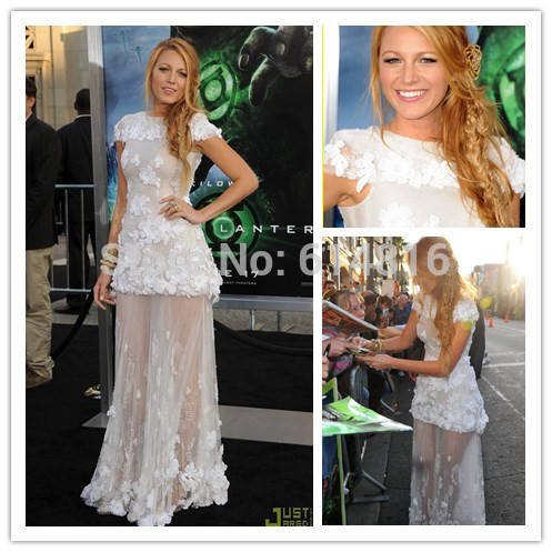 Aliexpress.com : Buy Attractive Gossip Girl Blake Lively White Tulle With Appliques See Through Short Cap Sleeve Celebrity Red Carpet Dresses from Reliable tulle gloves suppliers on Suzhou Babyonlinedress Co.,Ltd