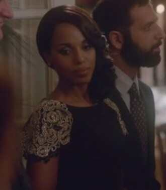 dress black sleeve olivia pope scandal strech wool floral embellished kerry washington