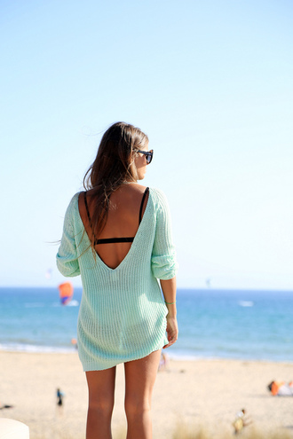 sweater cozy sweater cozy tourquise cotton sweater backless sweater