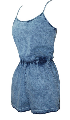 Acid Washed Up Jean Strappy Denim Romper