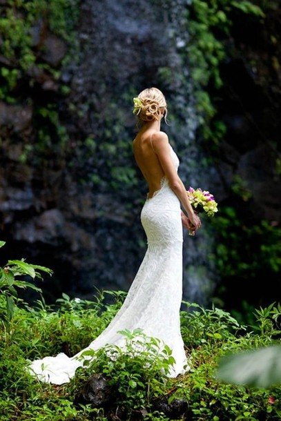 wedding dress lace dress lace ruffles low cut back low back open back white dress white dress clothes: wedding backless dress