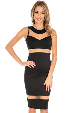 Mesh Panelled Bodycon Dress