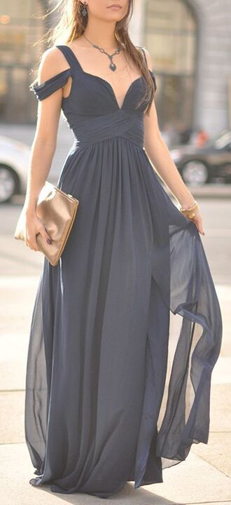 dress charcoal long dress off the shoulder flowy dress