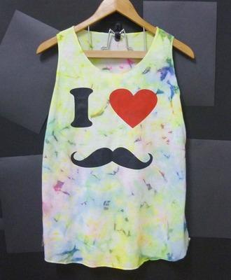 moustache t-shirt love tank top heart shirt mustache tank top singlet tie dyed shirt tie dye tank top women shirts tie dye
