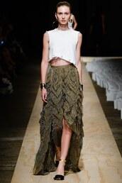 top,asymmetrical,asymmetrical skirt,runway,fashion week,sydney fashion week,model,crop tops,sass & bide
